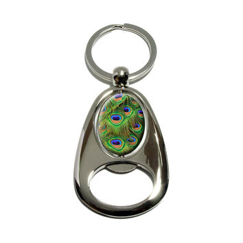 Peacock Tail Feathers Spinning Oval Bottle Opener Keychain