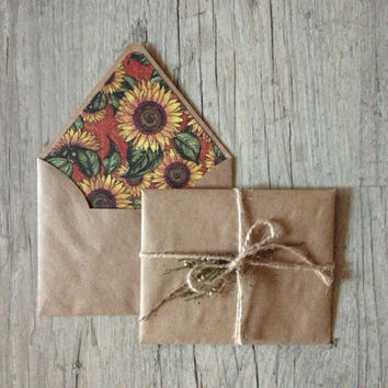 Writing set - handmade envelopes - set of 2 - letter writing paper - brown kraft envelope - sunflower red country - europeanstreetteam