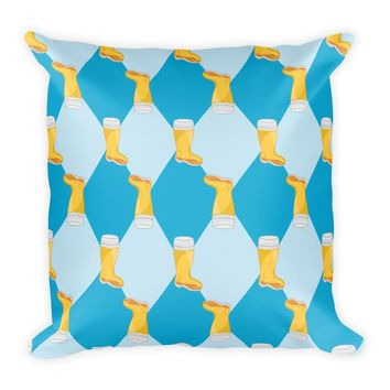 Oktoberfest Blue Diamonds and Boot Beer Mug Square Pillow