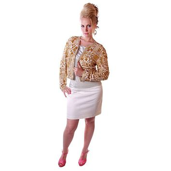 Vintage Gold Beaded Evening Jacket Della Roufogalia Niteline Small