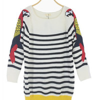 @Free Shipping@ Women Stripe Multi-coloured Loose Blends Sweater One Size niya034 from Voguegirlgo
