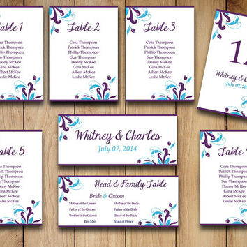 "Wedding Seating Chart Template Download | ""Florence"" Purple Malibu Turquoise Word Template 