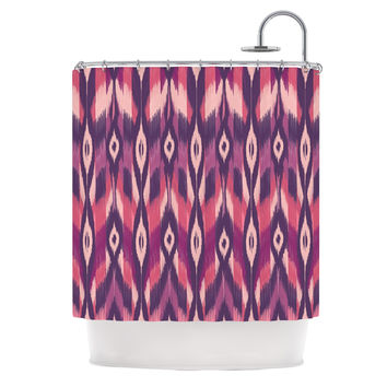 "Amanda Lane ""Purple Ikat"" Pink Lavender Shower Curtain"
