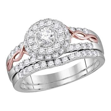 14kt White Gold Women's Round Diamond Halo Rose-tone Twist Bridal Wedding Engagement Ring Band Set 1.00 Cttw - FREE Shipping (US/CAN)