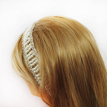 Bridal Lace Pearl Headband, Wedding Head Piece, Bridal Hair Accessory, Vintage Style