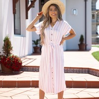 Bahamas Pink and White Stripe Dress