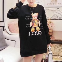 """Gucci"" Women Casual Fashion Letter Cartoon Bear Pattern Print Long Sleeve Sweater Tops"