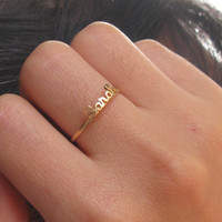 Stackble Ring - Antique Ring - Gift - Chose Your Name - Name Ring - 18K Gold Plated