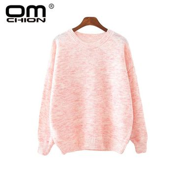OMCHION Sueter Mujer 2017 New Autumn Sweater Women Preppy College Pullover For Girl Long Sleeve Mix Color Knitted Jumper LMY85