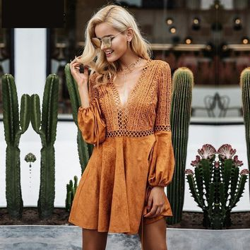 lace up v neck suede lace Hollow out flare sleeve dress backless dresses