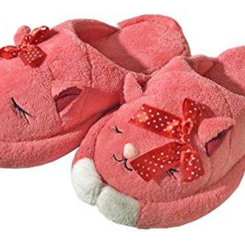 Sleeping Cat Cozy and Plush Animal House Slippers