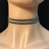 Double Studs Suede Choker - Black