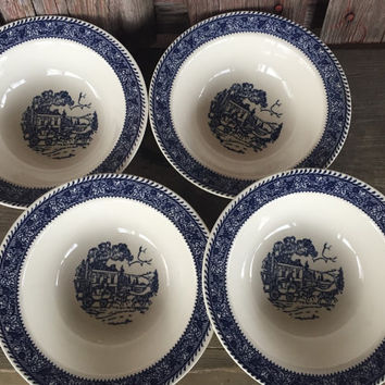 "4 vintage Homer Laughlin Shakespeare Country Blue leaves 7"" cereal bowls stratwood collection, Mid Century blue and white transferware bowl"
