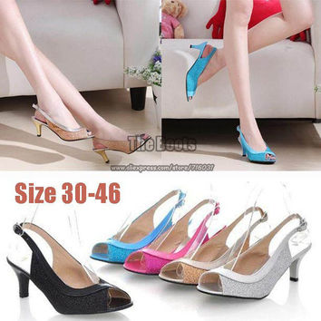 2 Inch Black Hot Pink Blue Silver Gold Peep Toe Prom Pumps High Heels Wedding Shoes Plus Size 9 10 11 12 13 40 41 42 43 44 45 46
