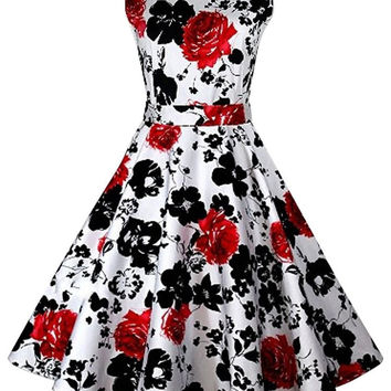 Red Floral Sleeveless Sheath Tent Mini Dress