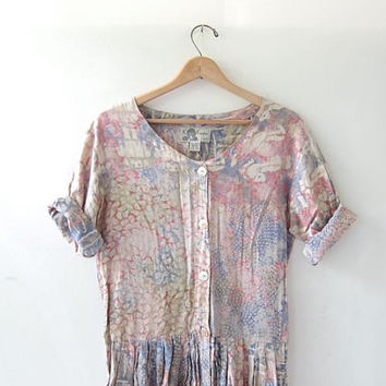 Vintage button front bali dress. batik maxi dress. pastel summer dress. loose fit long dress.