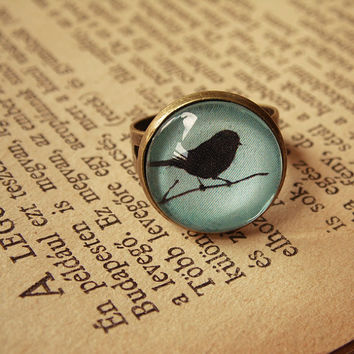 Mint bird vintage ring, adjustable ring, bird ring, romantic jewelry, glass dome jewelry, pastel ring, blue ring