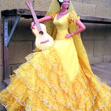 Marin Chiclana 24 inch tall Spanish Flamenco Dancer Lady Doll Made in Spain With Guitar