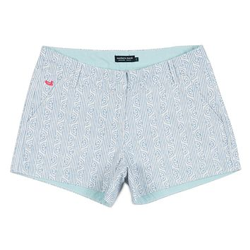 Limes of Latitude Brighton Shorts in White & Lilac by Southern Marsh