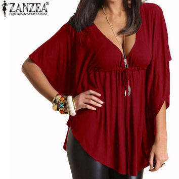 2016 Summer Women Trendy Blusas Sexy Casual Loose V Neck Batwing Sleeve Tee Tops Ladies Solid Blouses Shirts
