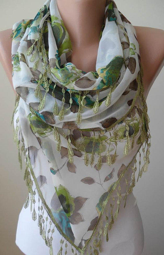 New - Green and Brown -  Silk - Chiffon Scarf with Green Trim Edge