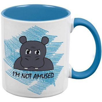 DCCKJY1 Hippo I'm Not Amused Funny Aqua Handle Coffee Mug