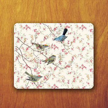 Bird Vintage Mouse Pad Pink Flower Wallpaper Painting MousePad Office Pad Work Accessory Personalized Custom Gift