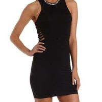 Black Caged Bodycon Tank Dress by Charlotte Russe