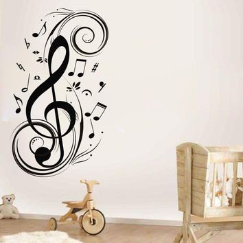 Musical Notes Vinyl Wall Sticker Removable Music Wall Art Decal For Music Studio/Living Room Decoration