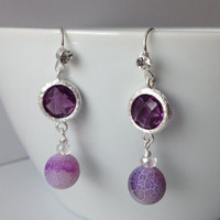 Purple Dangly Earrings - Frosted Purple Agate and Glass Earrings #purpleearrings #purpledangles #bridalearrings #dangles #formalearrings