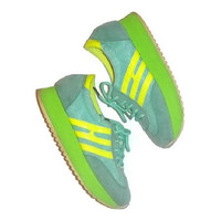 70s Sporty Running Shoes Vintage Sneakers 1970s Runners Lime Green Yellow Turquoise Europe Size 36 US 5.5 Ladies Wedge Track Shoes Lace Ups