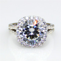 Halo 4.25CT Diamond Ring Accents Sterling 925 Silver ASCD Simulated Diamond Plate White Gold Engagement Ring