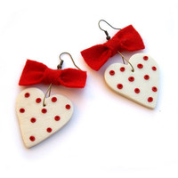 Valentine heart heart earrings valentine gift Red by JPwithLove