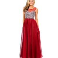 Burgundy Crystal Beaded Sleeveless Chiffon Long Dress 2015 Prom Dresses