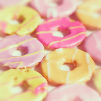 Food Photography, Iced Biscuits, Cookies, Kitchen Decor, Pink, Yellow, Fine Art print