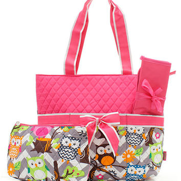 Monogram Diaper Bag/Personalized Gray pink Owl diaper bag