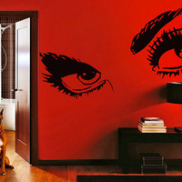 Womens Eyes Silhouette Vinyl Wall Sticker, Home Decor Removable Decal, Art Decal Decor DIY Mural ! Free shipping!