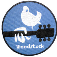 "WOODSTOCK Hippy Peace Love Dove Iron On Patch 2.7""/7.2cm"