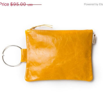Bridal clutch, Yellow leather wristlet, Leather clutch with a metal bracelet handle, wedding bag, Luxury Bridesmaid Gift