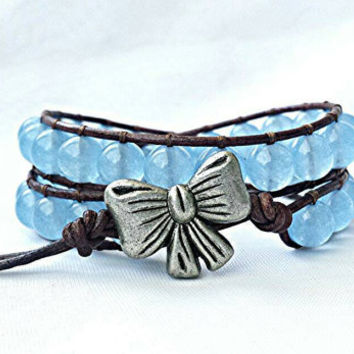 Leather wrap bracelet, beaded wrap bracelet, aquamarine gemstone bracelet, boho leather wrap, blue bracelet, leather bracelet, bow bracelet