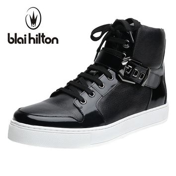 Blaibilton Autumn Winter Mens Ankle Boot 100% Luxury Genuine Cow Leather Fashion Side Zip Buckle Casual Western Boots Men Shoes