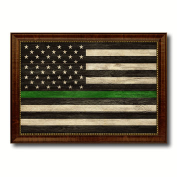 Thin Green Line Support Border Patrol American USA Flag Texture Canvas Print with Brown Picture Frame Home Decor Wall Art Gifts