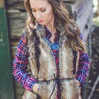 Into the Woods Faux Fur Brown Vest