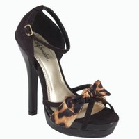 Rumiko! Cute and Sexy Leopard Bow Peep Toe and Ankle Strap High Heel Sandal in Black Faux Suede