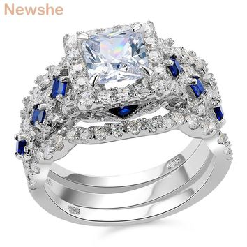 2.2 Ct 3 Pcs Solid 925 Sterling Silver Halo Wedding Ring Sets Princess Cut CZ Blue Side Stone