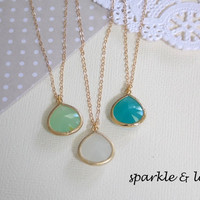 YOU PICK Gold Filled Framed Glass Stone Gem Necklace - Jade Green, Mint Blue, or Smoke White