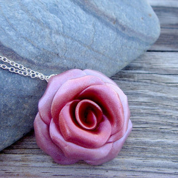 Rose Necklace  Red Pink and Purple Polymer Clay and by JustClayin