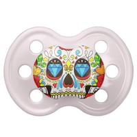 Sugar Skull and Hipster Bright Red Floral Roses Baby Pacifiers from Zazzle.com