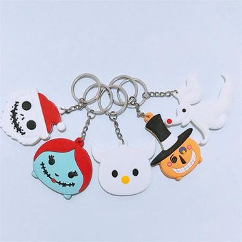 The Nightmare Before Christmas Figures Toys Keychain Movie Cartoon Halloween Santa Clause Jack Skellington Sally Pendants 10pcs