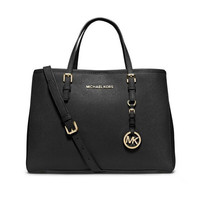 Michael Kors Sutton Saffiano Leather Medium Black Satchels Sale With 60% Off!